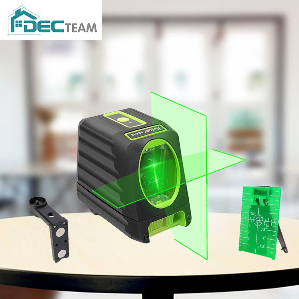 Equipe do dec 150ft/45m cruz linha laser nível auto nivelamento vertical & horizontal feixes verdes para o uso exterior BOX-1G