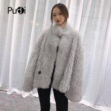 Pudi TX223912 women winter oversize Real sheep fur coat jacket overcoat lady fashion genuine outwear