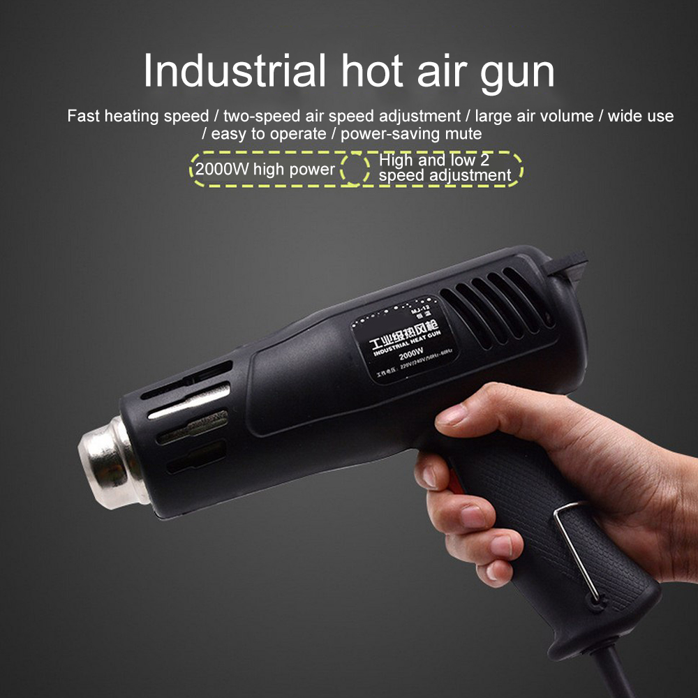 220v 2000w Electric Heat Gun Heat Gun 150-550 Work Temperature Adjustable Nozzle Car Film Bake Dry Remove Paint Thaw Food