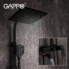 GAPPO siyah musluk banyo duş sıcak ve soğuk su mikser pirinç musluk küvet şelale duş sistemi musluk mikser siyah