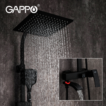 ulgksd black brass bathroom shower faucets wall supported hot and cold mixer tap ceramic valve para bath shower bronze faucets GAPPO black faucet bathroom Shower hot and cold water mixer Brass faucets Bathtub waterfall shower system faucet mixer black