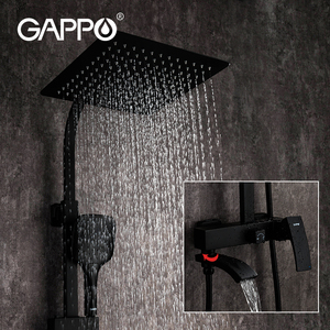 GAPPO black faucet bathroom Shower hot and cold water mixer Brass faucets Bathtub waterfall shower system faucet mixer black