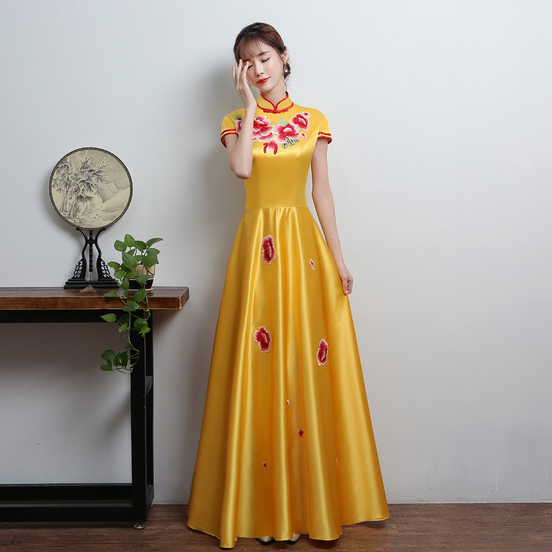 Plus Size 3XL Formal Cheongsam Chinese Style Embroider Flower Bridesmaid Dress Sexy Women Party Evening Long Qipao Dress Dresses