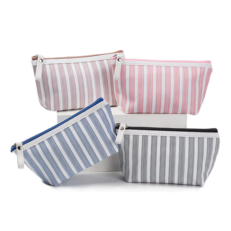 Fashion Women Canvas Cosmetic Bag Women Make Up Bags Striped Printed Travel Toiletry Organizer Portable Pouch Makeup Case