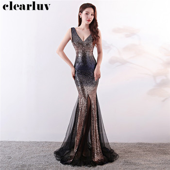Sequined Mermaid Evening Dresses Plus Size Sleeveless Backless Robe De Soiree DX337-1 Illusion Party Gown 2020 Long Prom Dresses