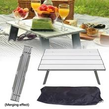 Portable Camping Table Picnic Table Outdoor Travel Aluminum Folding Furniture Table with Storage Bag Camping Tool 70 70 69cm aluminum alloy folding table portable outdoor barbecue table camping table picnic desk