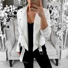 Ladies Casual Lapel Zipper Coat Outwear Women Long Sleeve Biker Jackets Femme Spring Autumn Solid Slim Fit Jacket Plus Size