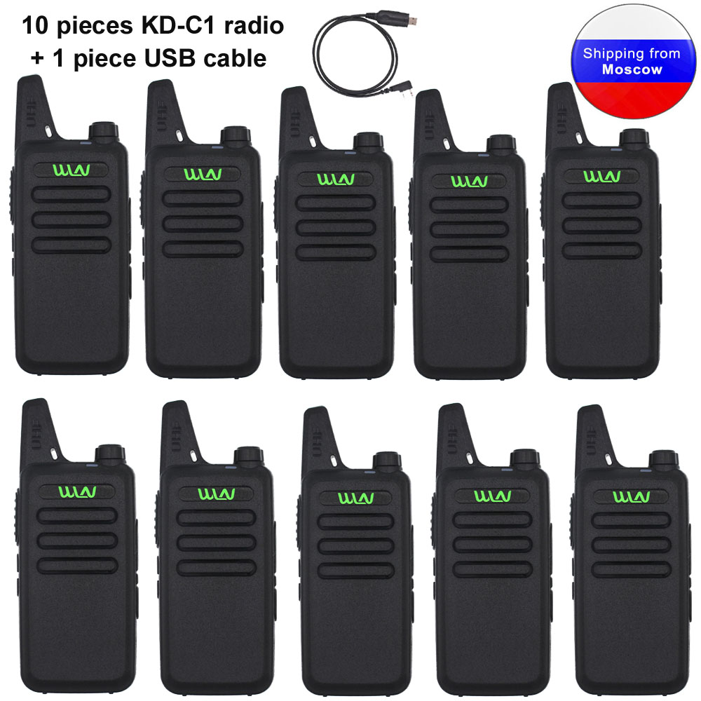 10PCS WLN KD-C1 mini <font><b>radio</b></font> UHF 400-520 <font><b>MHz</b></font> 5W portable walkie talkie 16 Channel UHF Transceiver with a usb cable image