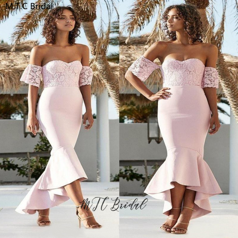 Vestido Madrinha 2020 Light Pink Short Bridesmaid Dresses Off The Shoulder Lace Top Mermaid Cheap Wedding Guest Dress Customize