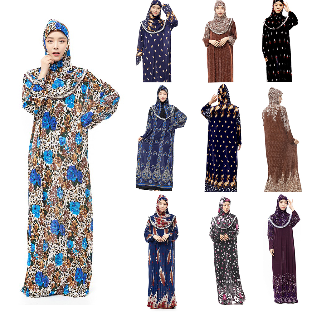 FREE SHIPPING Lace Flowers  Pullover Prayer ISLAMIC Coordinates Muslim Costume RAMADAN WORSHIP HIJAB ADN SKIRT Together For Lady