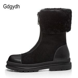 Image 3 - Gdgydh bottes en fourrure naturelle pour femmes, cuir véritable, suède, bonnes chaussures dhiver chaudes, en peluche russe à lintérieur, talon bas, confortables, nouvelle collection