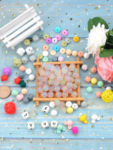 LOFCA Loose-Beads 15mm Chewable Silicone Baby Round Infant DIY Safe for 20pcs/Lot Colorful