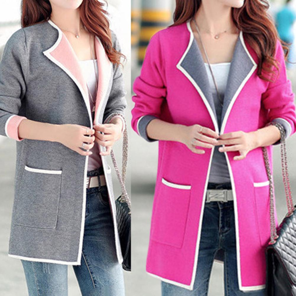 Spring Sweater Cardigans Women Plus Size Women Solid Color Long Sleeve Pockets Cardigan Loose Knitted Coat Clothes Female Coat