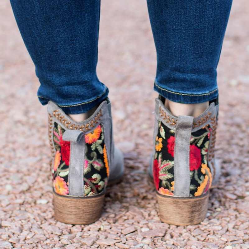 2019 neue Frauen Sticken Hohe Ankle Schuhe Stiefel Wein Rot Flock Leder Plus Größe Zipper Niet Blume Schuhe Schuhe Frau