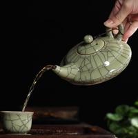[GRANDNESS] New Hot Sale Crackle Glaze Ge Kiln Longquan Celadon Longquan Teapot 300ml Celadon Longquan Tea Set Longquan Tea Pot