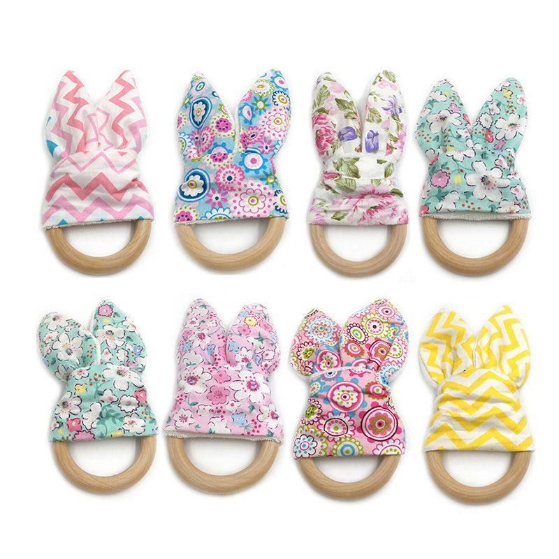 40 Colors Baby Teether Bunny Ear Teether Safe Organic Food Grade Beech Teething Ring Fish Plaid Color Choice Newborn Shower Gift
