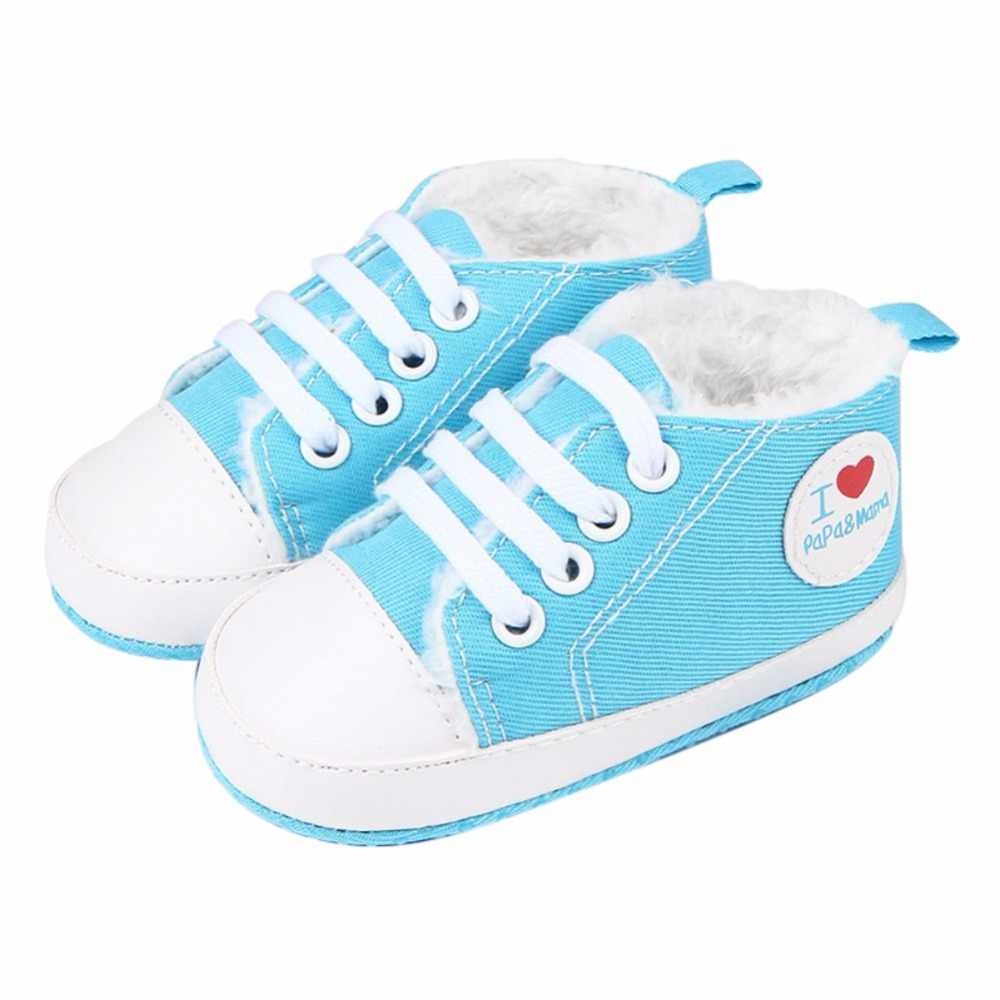 Zapatos de bebé niño niña añadir más terciopelo precaminante Bebé Zapatos de lona niños botas niños botines Bebe Sapatos zapatillas deportivas