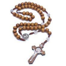 Мода ручной работы круглый шарик католические четки крест религиозные деревянные бусы мужчины ожерелье Шарм подарок