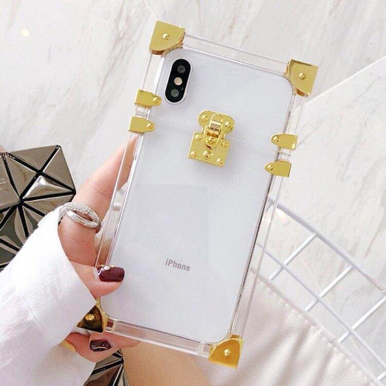 Étuis pour iphone X XS en acrylique Transparent en métal étui pour iphone 7 8 6s 6plus coques de téléphone Funda