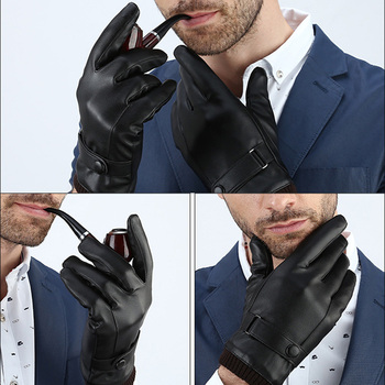 Men's Gloves Black Winter Mittens Keep Warm Touch Screen Windproof Driving Guantes Male Autumn Winter PU Leather Gloves Business