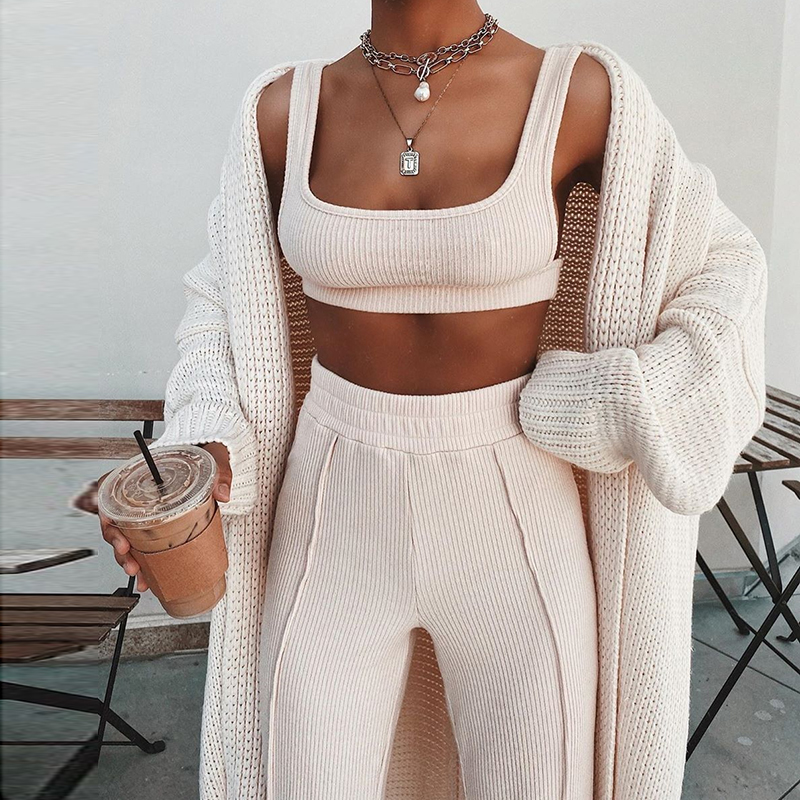 NewAsia Tacksuit Women 2 Piece Set Sleeveless White Ribbed Two Piece Outfits Crop Top Long Pants Plus Size Casual Matching Sets