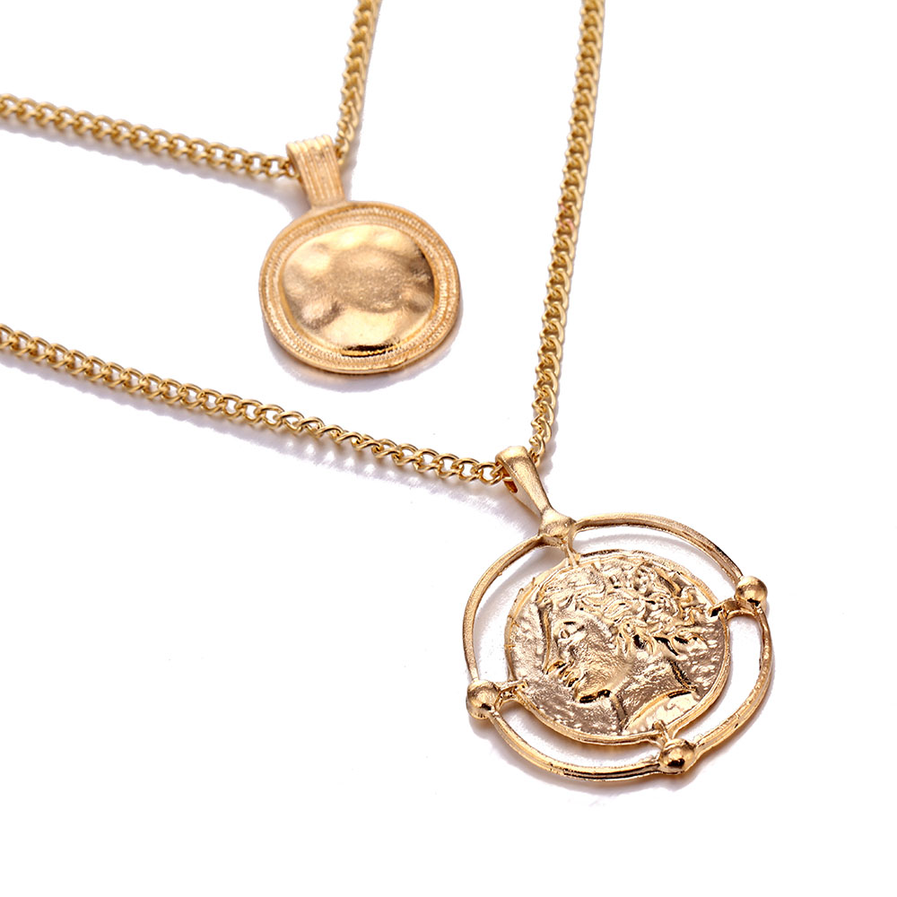 H3c173507f3bf45e6a99102cd87a04ba7d - VKME pendant necklace bohemian female double-layer necklace retro gold carved coin necklace jewelry new