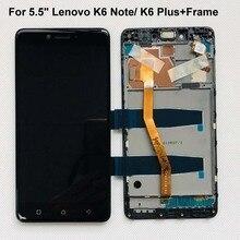 Orijinal test 5.5 yeni Lenovo Vibe K6 artı K53b36 K53b37 K6 not tam lcd ekran + dokunmatik ekranlı sayısallaştırıcı grup + çerçeve