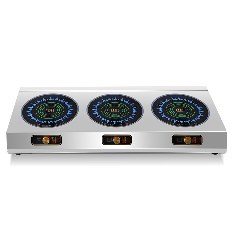 Commercial Induction Cooker Electric Ceramic Stove Multi head Radiant Cooker Three Stoves Electromagnetic Oven 2500w*3