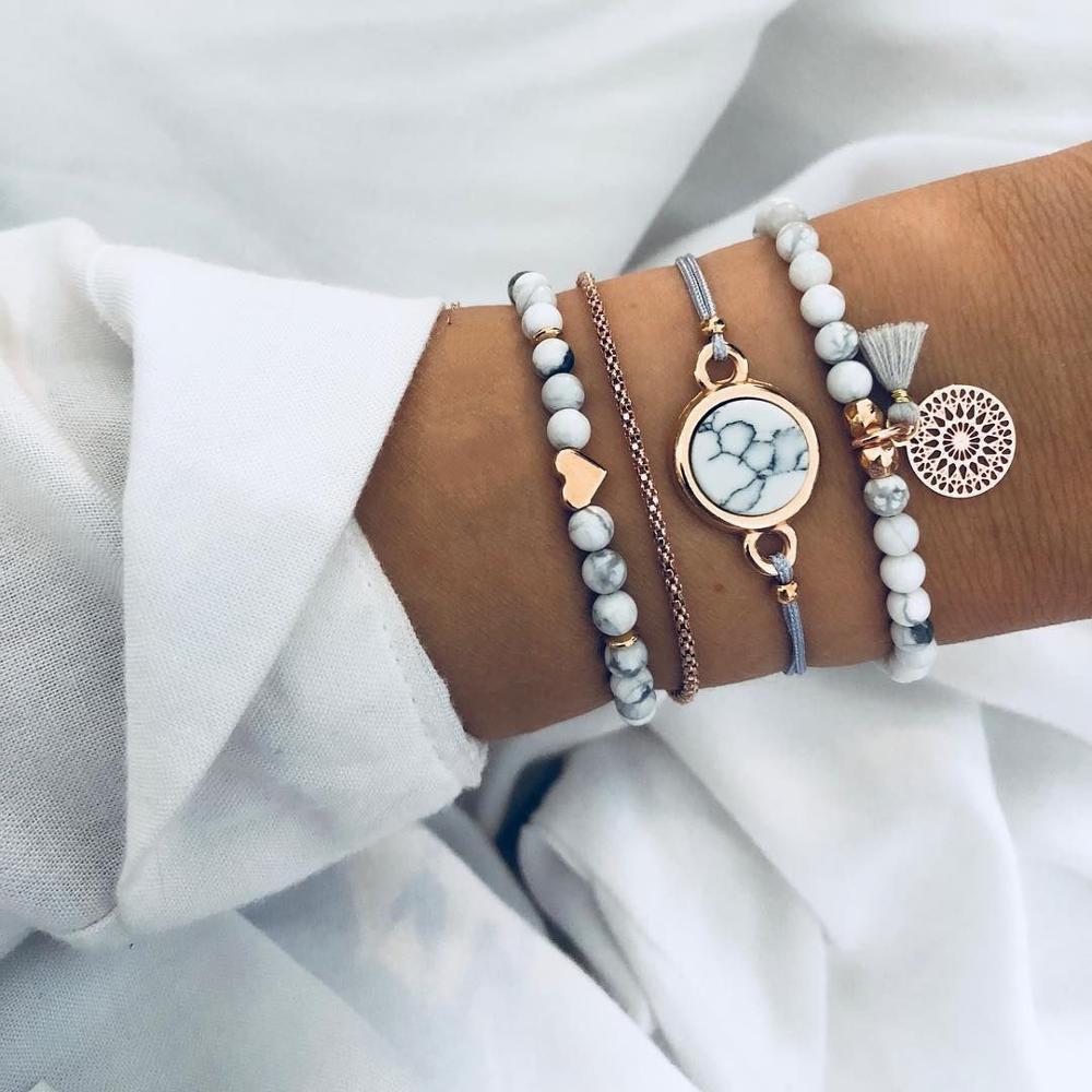 4pcs/Set Bohemian Stone beads chains bracelets Set For Women Metal Heart Round Tassel charm Bangle Fashion Jewelry
