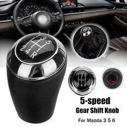 Czarny 5 prędkości PU Leather Car część zamienna gałka zmiany biegów kij Shifter głowy dla Mazda 3 5 6