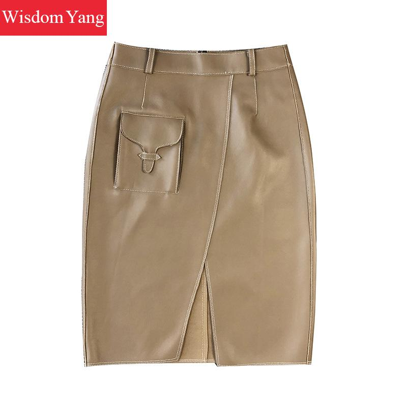 Genuine Leather Skirts Womens Sheepskin High Waist Midi Wrap Skirts Female Khaki Black Grey Bodycon Party Sexy Ladies Long Skirt