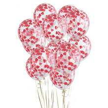 Latex Balloons Confetti Transparent Valentine's-Day-Anniversary Wedding Red Heart Birthday-Party-Decorations