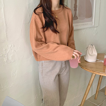 2020 Autumn Winter O-neck Knitted Sweater Pullovers Women Long Sleeve Female Casual Short Fashion Sweater Jumper Korean Style new fashion women female korean short type long sleeve slim motor zipper leather jackets coats