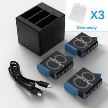 Batterie Triple chargeur pour GoPro Hero 8, 7, 6, 5, appareil photo noir, charge rapide