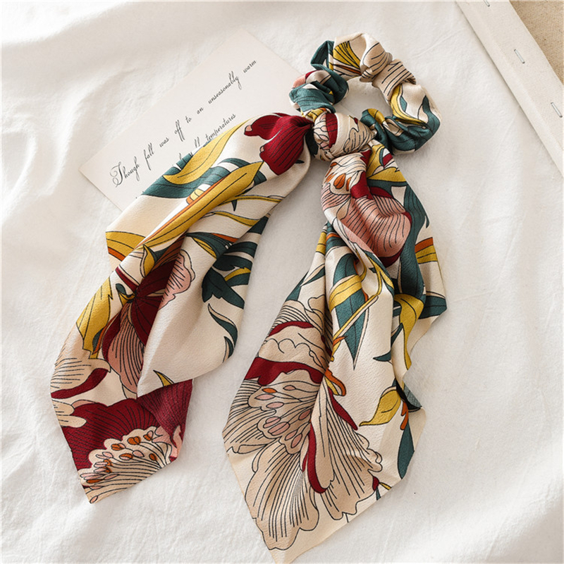 New 2 In 1 Vintage Floral Print Fashion Hair Band For Women Scrunchies Hair Scarf Horsetail Girls Ties Headband Hair Jewelry