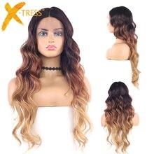Длинные волнистые синтетические кружевные передние парики для женщин 4/30/27 Омбре коричневого цвета средняя часть 22 дюйма Высокая термостойкость волос искусственный парик