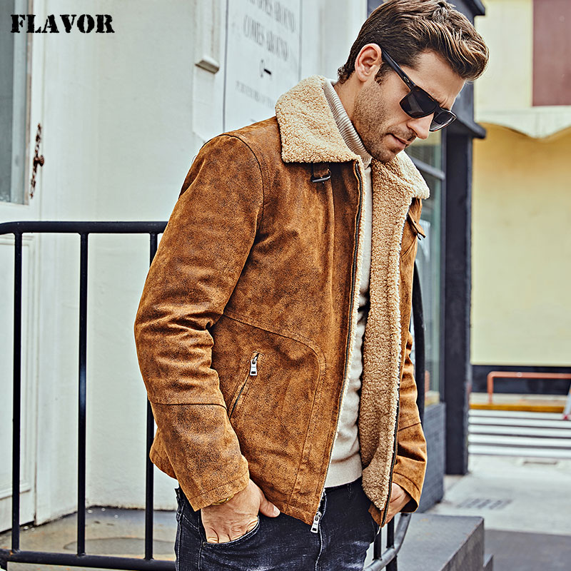 FLAVOR New Men s Genuine Leather Motorcycle Jacket Pigskin with Faux Shearling Real Leather Jacket Bomber FLAVOR New Men's Genuine Leather Motorcycle Jacket Pigskin with Faux Shearling Real Leather Jacket Bomber Coat Men