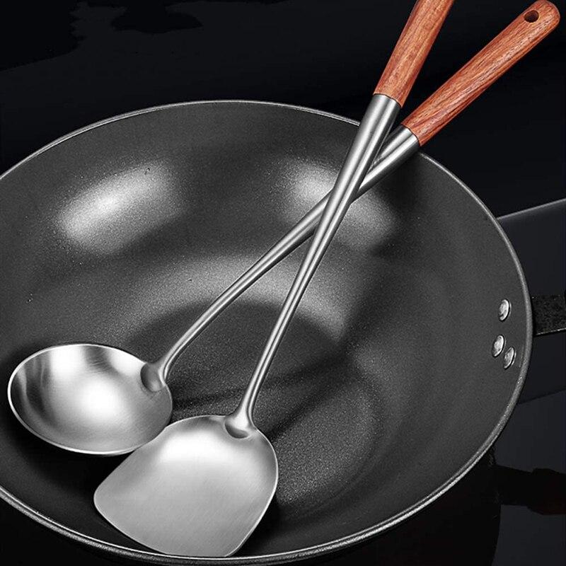 2Pcs Utensils Kitchen Wok Spatula Iron and Ladle Tool Set 17 Inches Spatula For Wok Stainless Steel Wok Spatula Kitchen Bar Tool