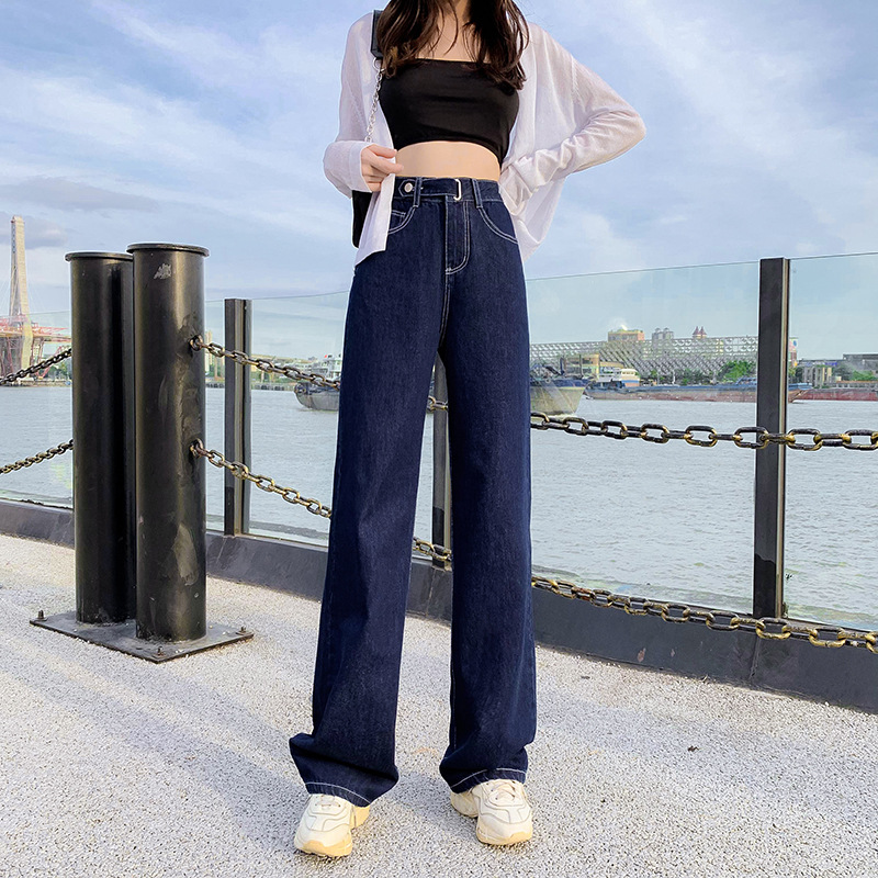 Baggy Jeans Cargo Pants Women Fall 2020 Women High Waist Slimming Capri Wide Leg Pants Dark Blue Mom Jeans