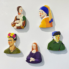 Fridge Magnets 3D Mona Lisa van gogh Sunflower World Famous Paintings Magnetic Kitchen Door Sticker for Children Home Decoration