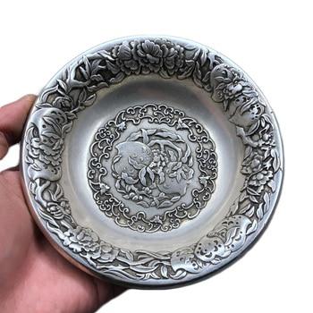 LAOJUNLU Imitation Antique White Copper Silver Plate Peach Pen Wash Birthday Peach Pure Copper Plate Cup Holder Retro Ashtray