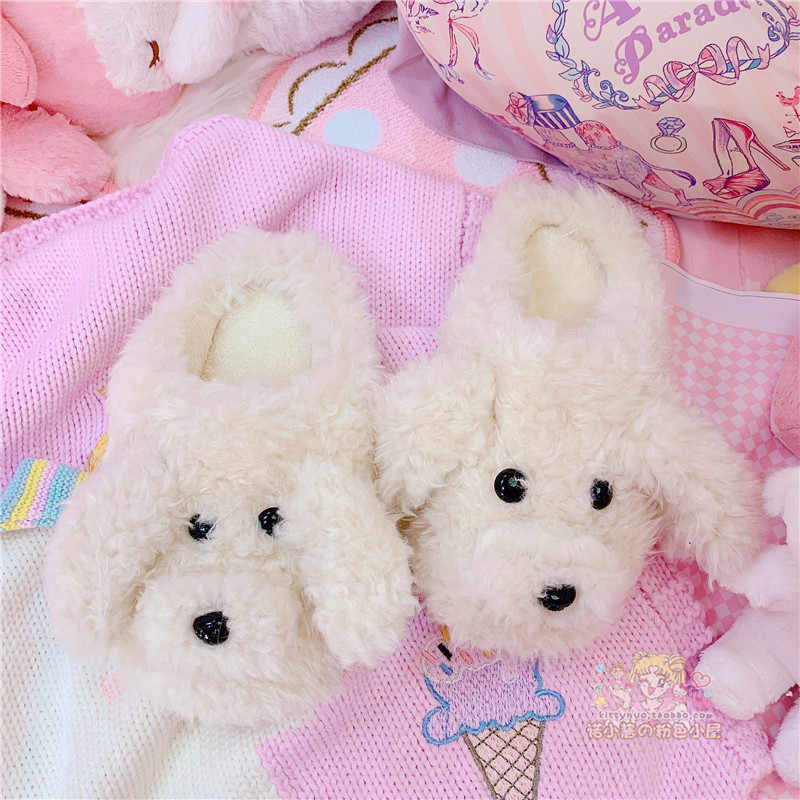 Cartoon Hond Winter Vrouw Katoen slippers Slip op Faux Fur Warme Schoenen anti-slip thuis Slippers Flats Vrouwelijke Huis schoenen