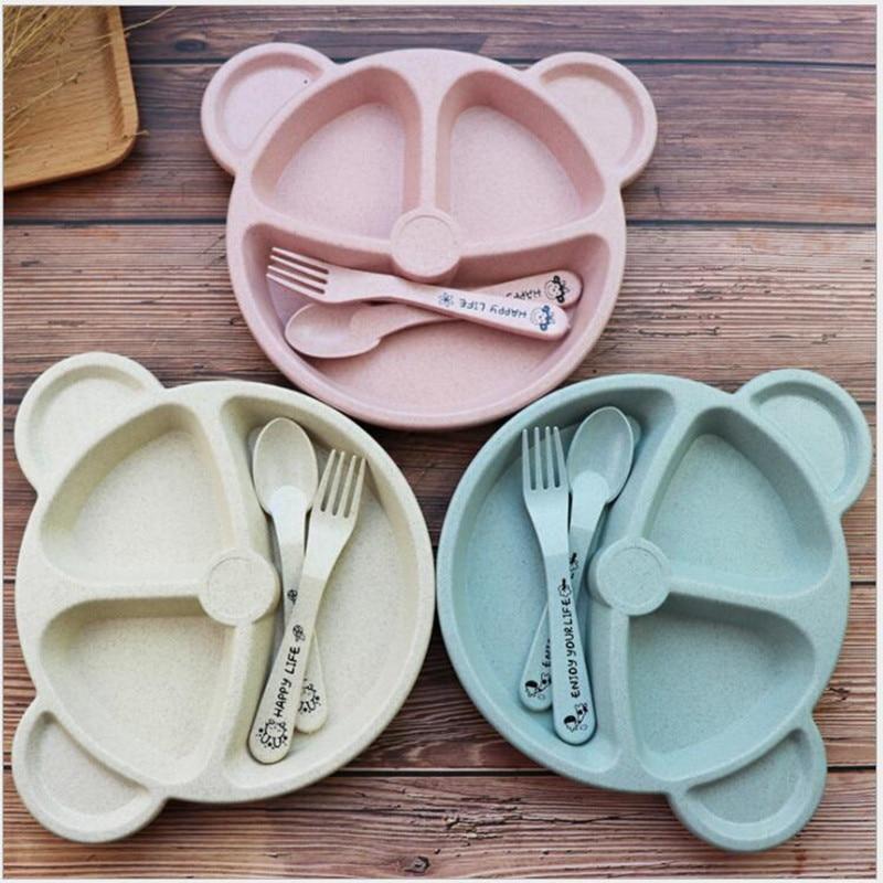 3pcs/set Wheat Straw Tableware Cartoon Bear Children Dishes Kids Dinner Plate Baby Plate Fork Spoon Baby Eating Dinnerware Set
