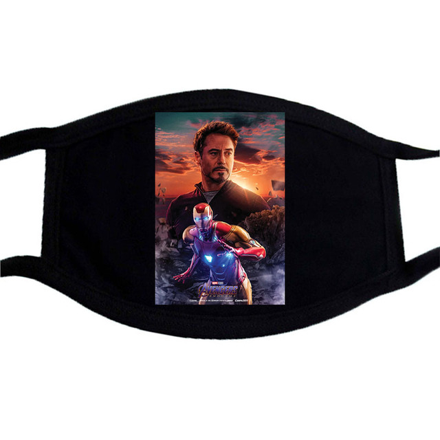Cartoon Iron Man Deadpool Mask  Superhero Mouth Muffle Black  Masks Dust Casual Keep Warm Black Mouth Mask Kpop Face Masks 3