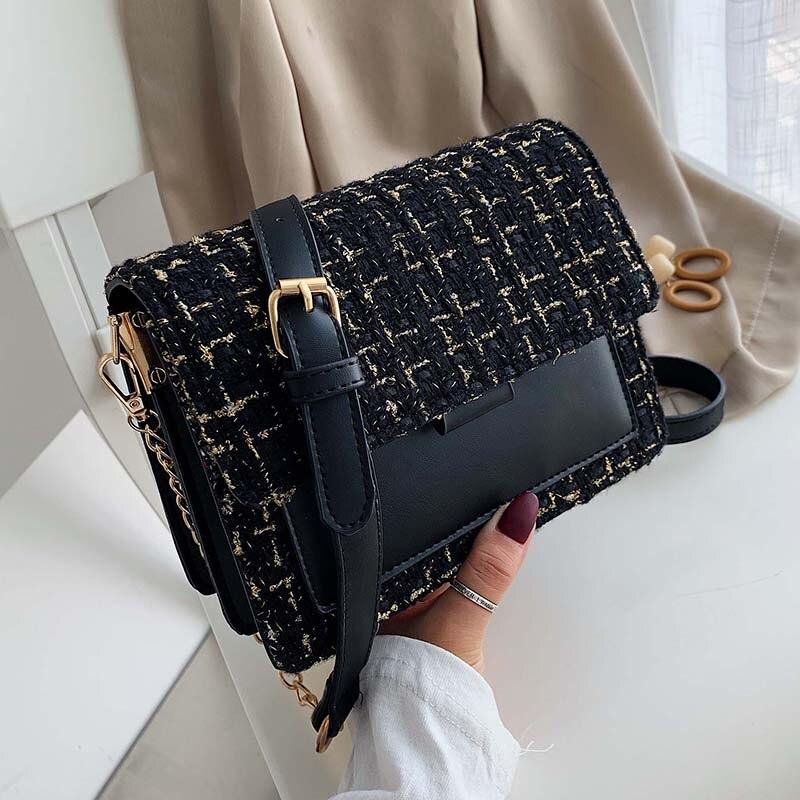 Cotton And Linen Crossbody Bags For Women 2020 Winter Shoulder Messenger Bag Female Mini Chain Handbags And Purses