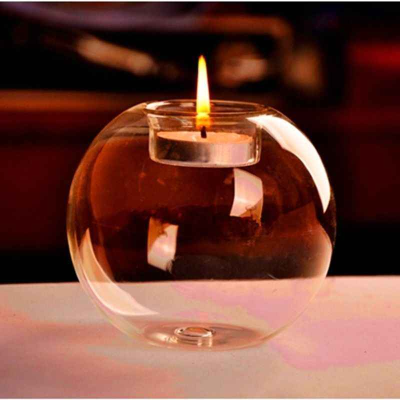 Romantic Crystal Glass Clear Round Classic Candle Holder Wedding Transparent Candlestick Dining Home Bar Party Decor