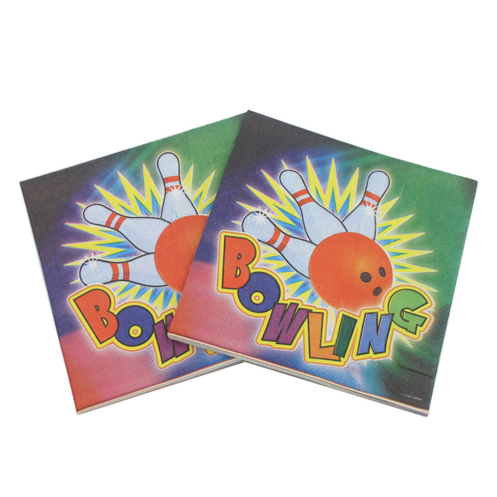[] Multi-color Printed Napkin Bowling Sports Bowling Exported Napkin Paper Towel Surface