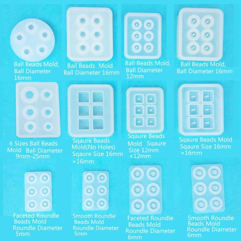12Pcs All Sizes Round Square Roundle Beads Resin Molds Gemstone Jewelry Making