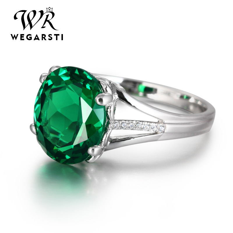 WEGARASTI Silver 925 Jewelry Emerald Ring Silver 925 Women Zircon Natural Gemstone Rings Party Engagement Ring Fine Jewelry