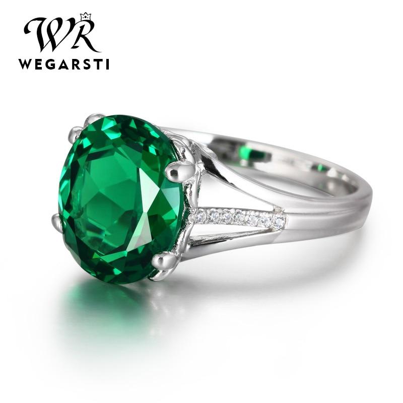 WEGARASTI Silver 925 Jewelry Emerald Ring Silver 925 Women Zircon Natural Gemstone Rings Party Engagement Ring Fine Jewelry